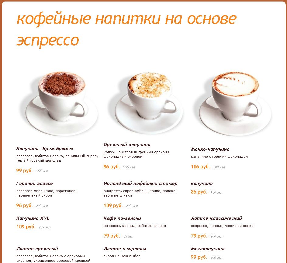 Кофейные напитки в кофейни ПитьКофе